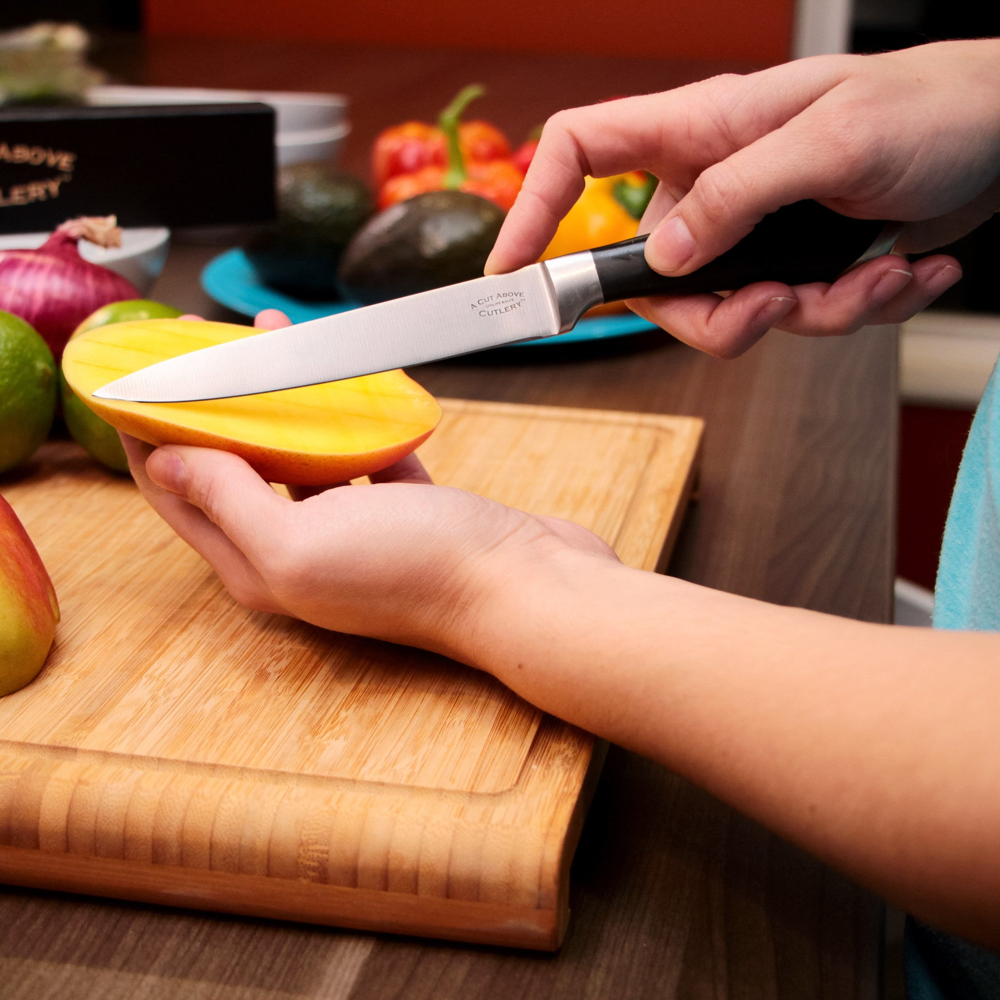 A Cut Above Cutlery Utility Knife. Forged Stainless Steel Construction, Slip Resistant Grip, 5 Inch Blade Holds Edge Well So You Sharpen Less Often. Peel, Core, Pare, Fruit and Vegetables, Prep Sushi