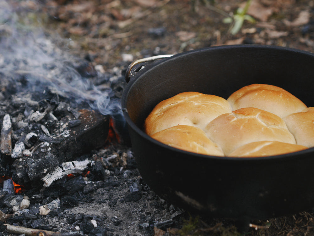 Dutch oven baked bread rolls stuffed with chorizo, chilli and cheese