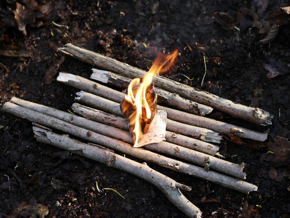 Birch bark burning away and ready to add more fuel.