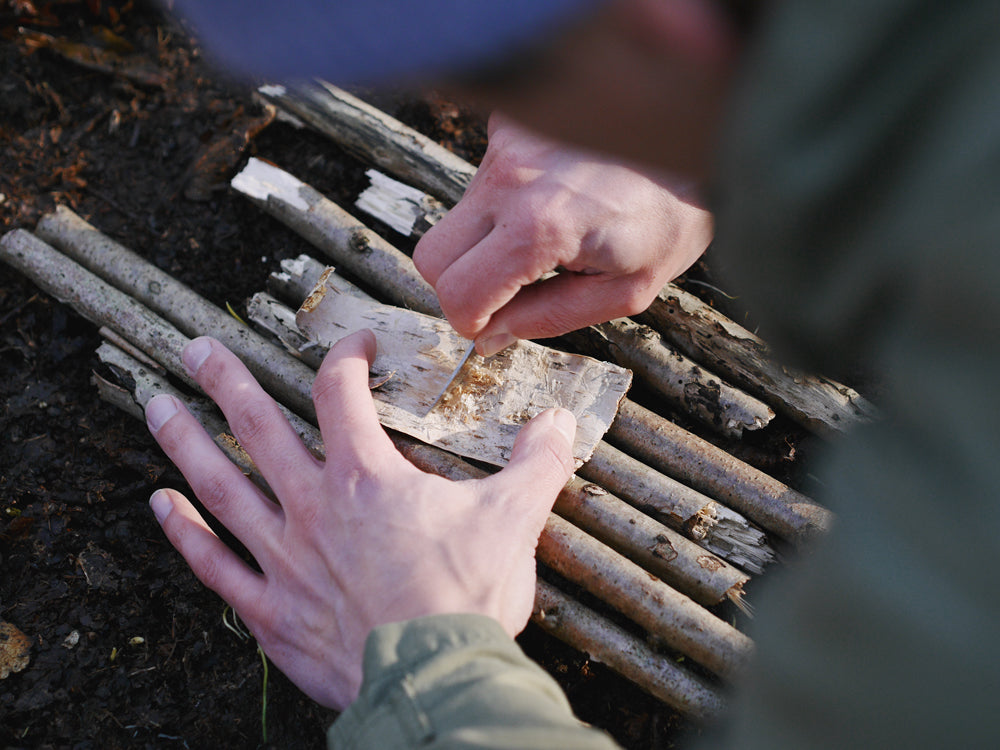 Scrape the top of the birchbark to create dust which will ignite easily.