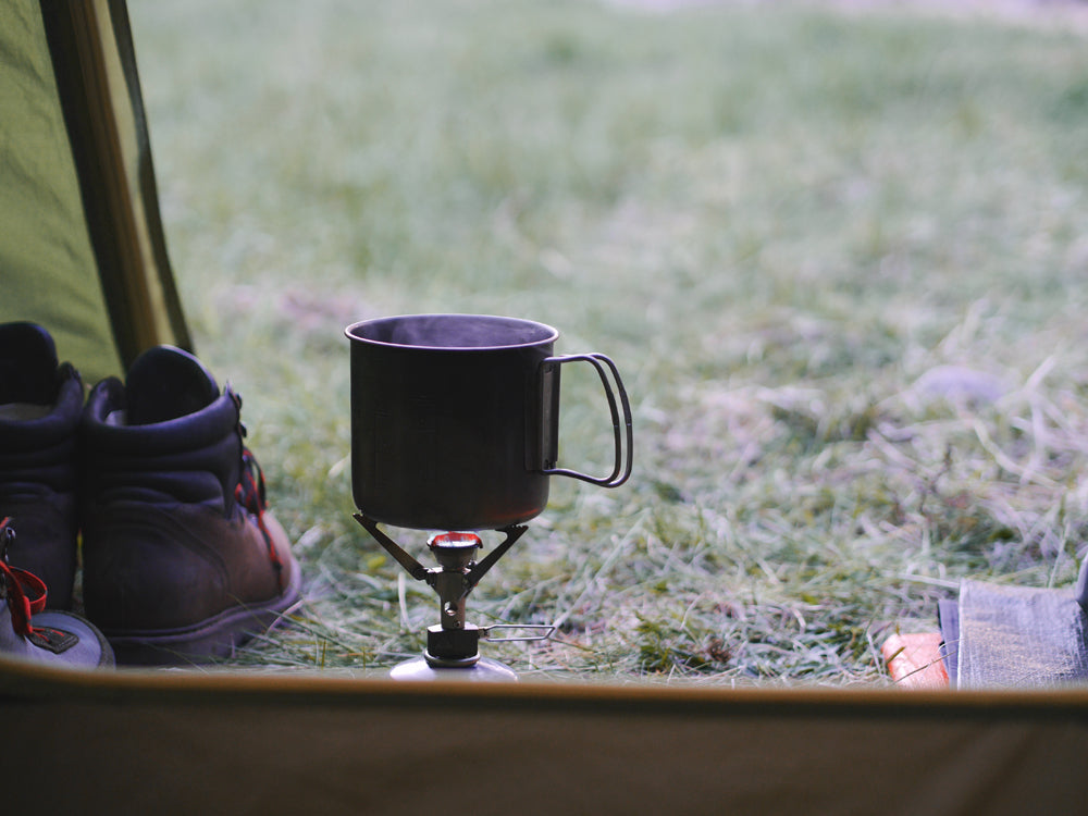 Morning coffee in a tent