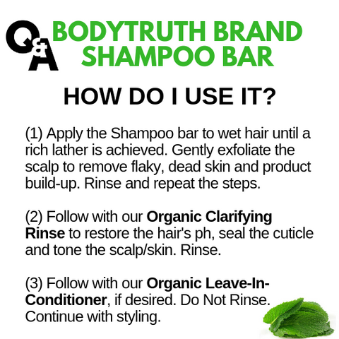 BODYTRUTH brand shampoo bar instructions