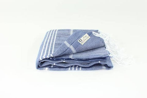 Turkish Classic Striped Peshtemal Towel - Navy