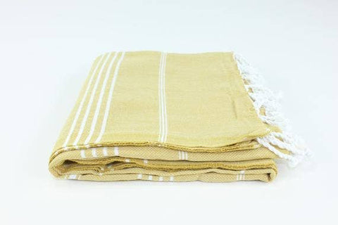 Turkish Striped Peshtemal Towel - Muted Yellow