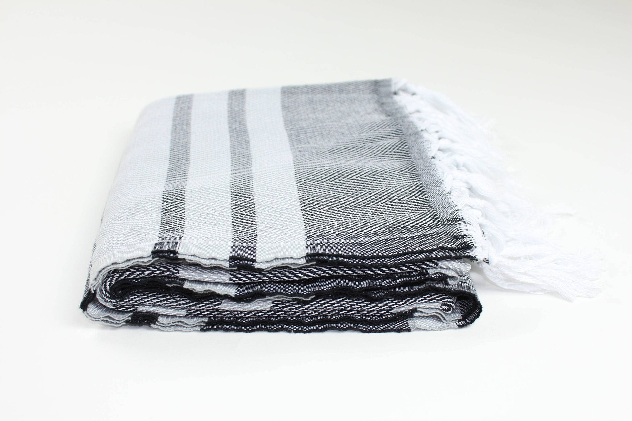 Premium Turkish Herringbone Towel - Black & Grey