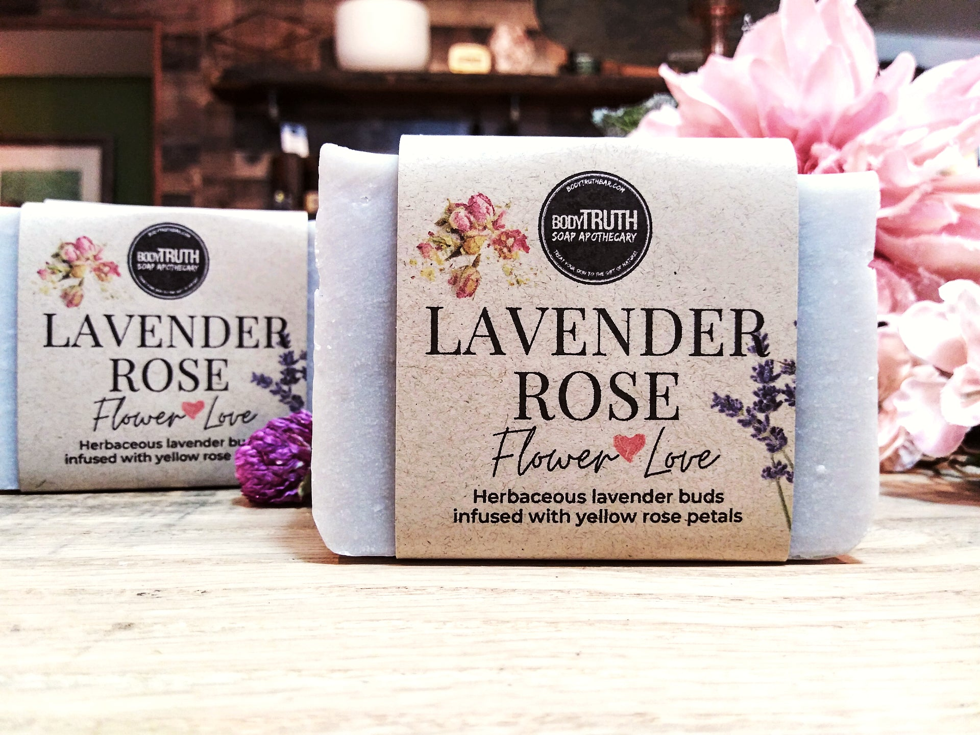 Bodytruth Soap Apothecary in downtown Lawrence Kansas - Lavender Rose bar soap