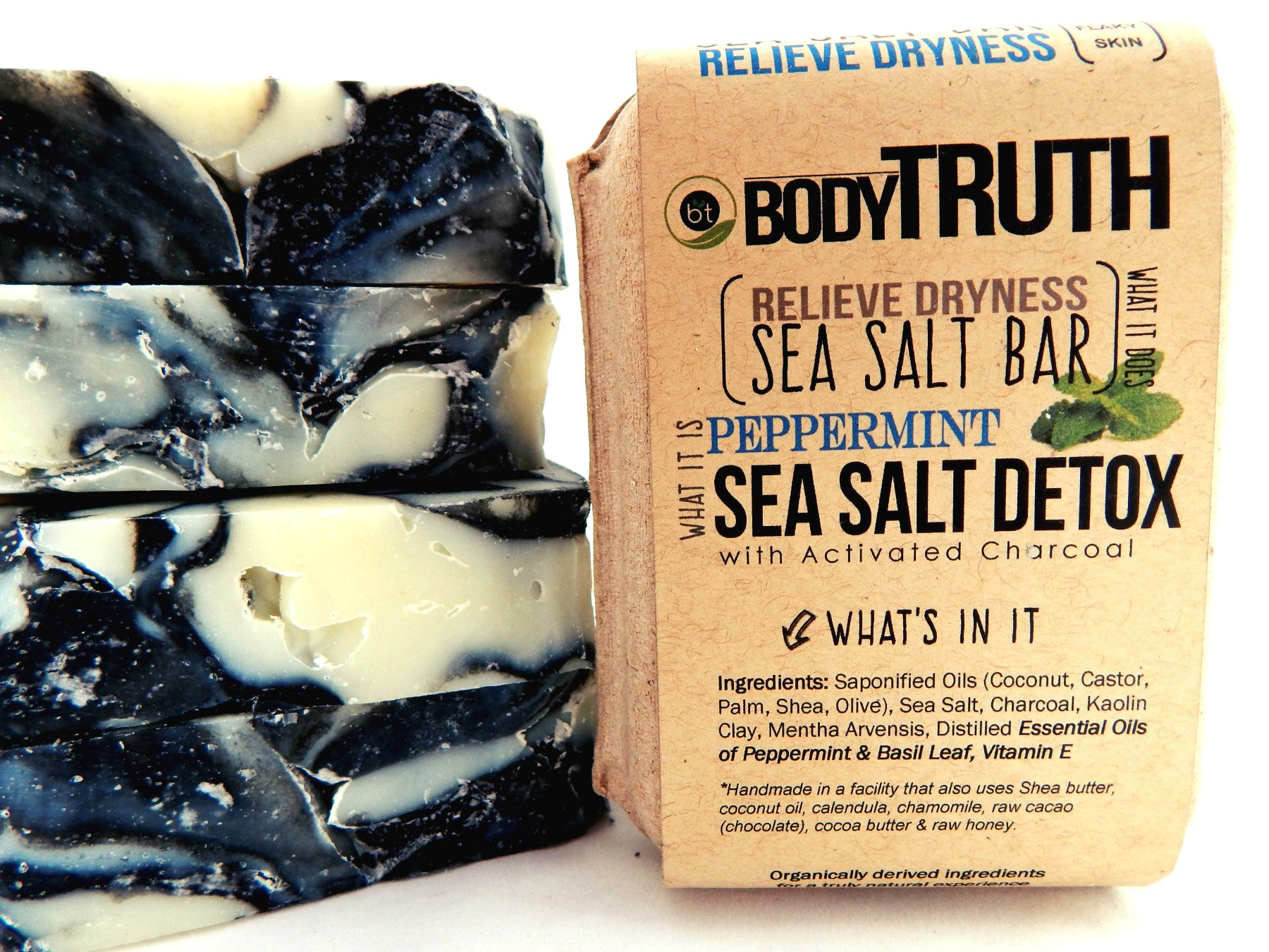 BODYTRUTH brand, Peppermint Sea Salt Detox, Charcoal Body Bar by GHSOAPS with Charcoal & Sea Salt - Face & Body Complexion Bars | acne, eczema, blemishes, dermatitis, sea salt soap, charcoal soap, clay soap, shea butter soap, essential oils, fragrance-oil free, organic