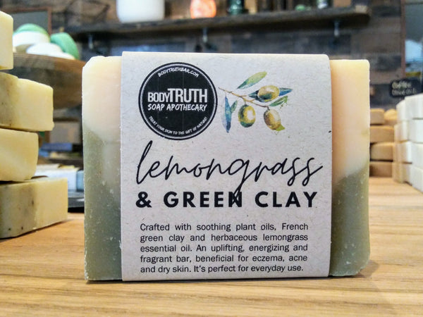 LEMONGRASS & CLAY, Face & Body Bar - Bodytruth Soap Apothecary