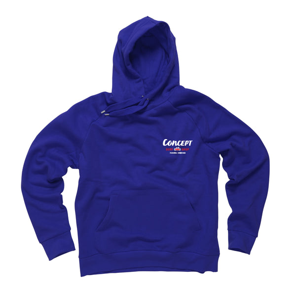 Concept Hoodie Navy Blue with Red & White ink