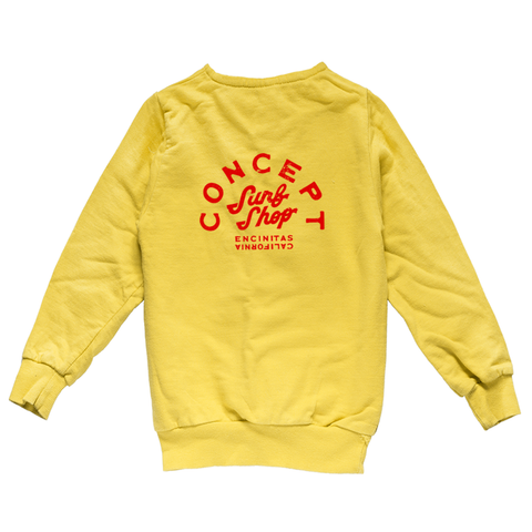 Concept Crew Sweatshirt Yellow with Red ink