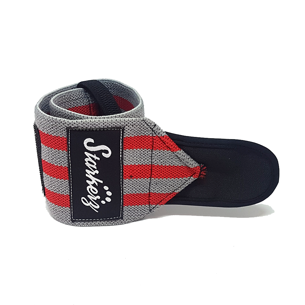 Starkerz Wrist Wraps (Elastic) Red and Grey
