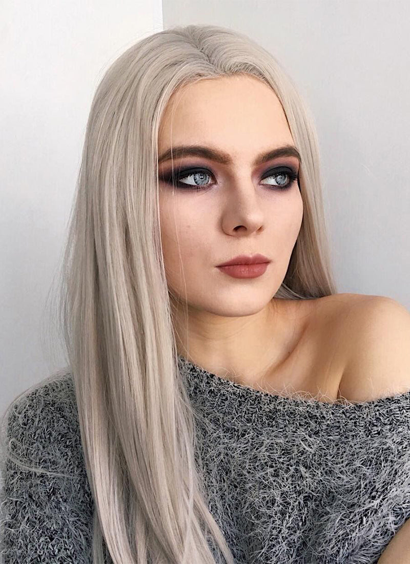 Straight Grey Blonde Lace Front Synthetic Wig LF238 - Wig Is Fashion