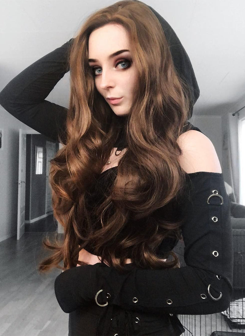 Brunette Wavy Lace Front Synthetic Wig LF321 - Wig Is Fashion