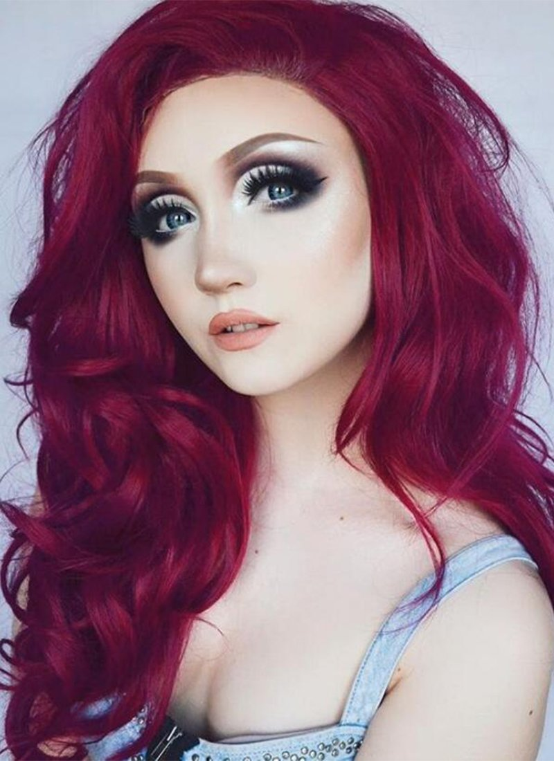 Wavy Reddish Purple Lace Front Synthetic Wig LW814 - Wig Is Fashion