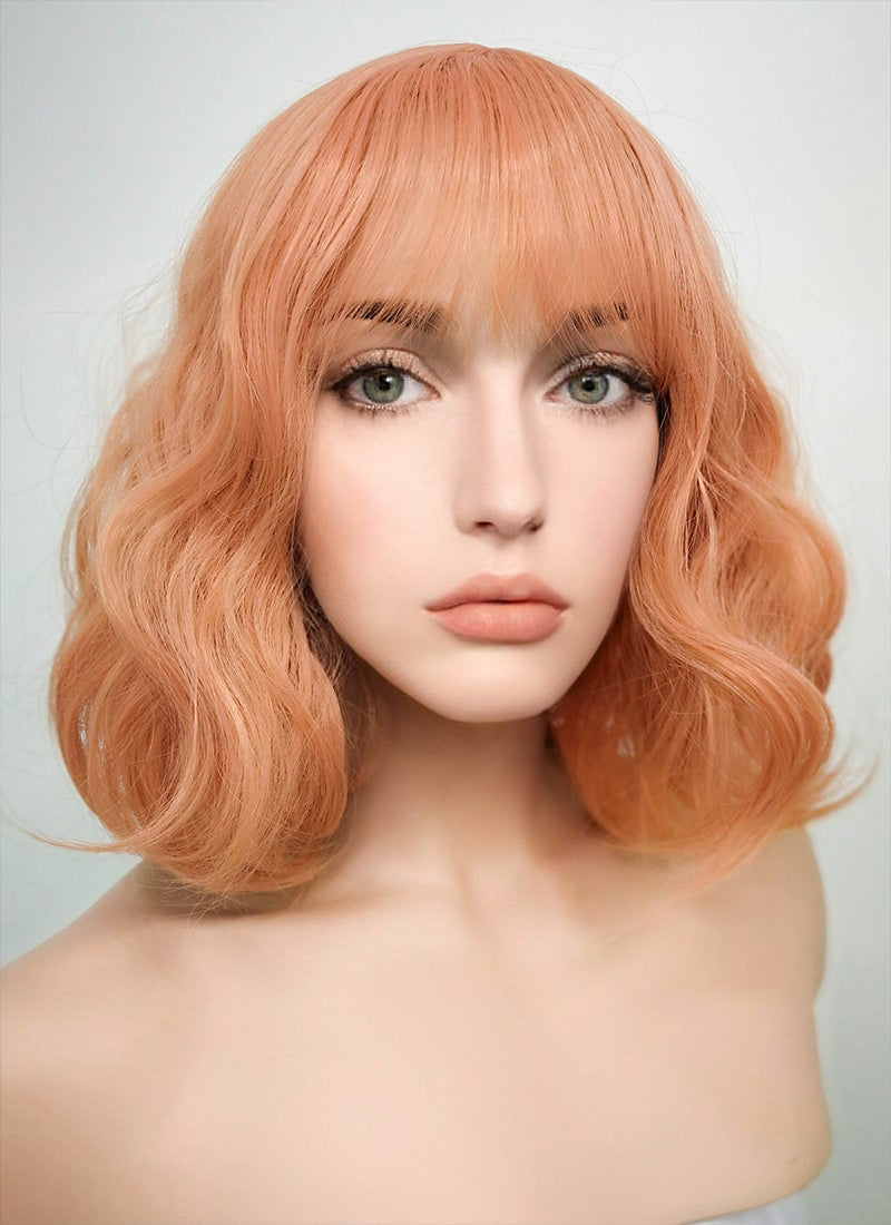 Peach Pink Wavy Bob Synthetic Wig CM197 - Wig Is Fashion