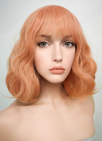 "20"" Wavy Pumpkin Orange Lace Front Synthetic Wig LF085E"