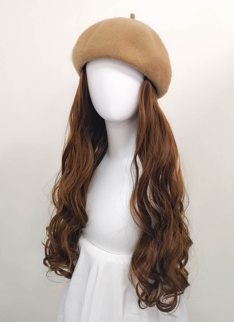 Camel Beret With Wavy Brown Hair Attached CW002 - Wig Is Fashion