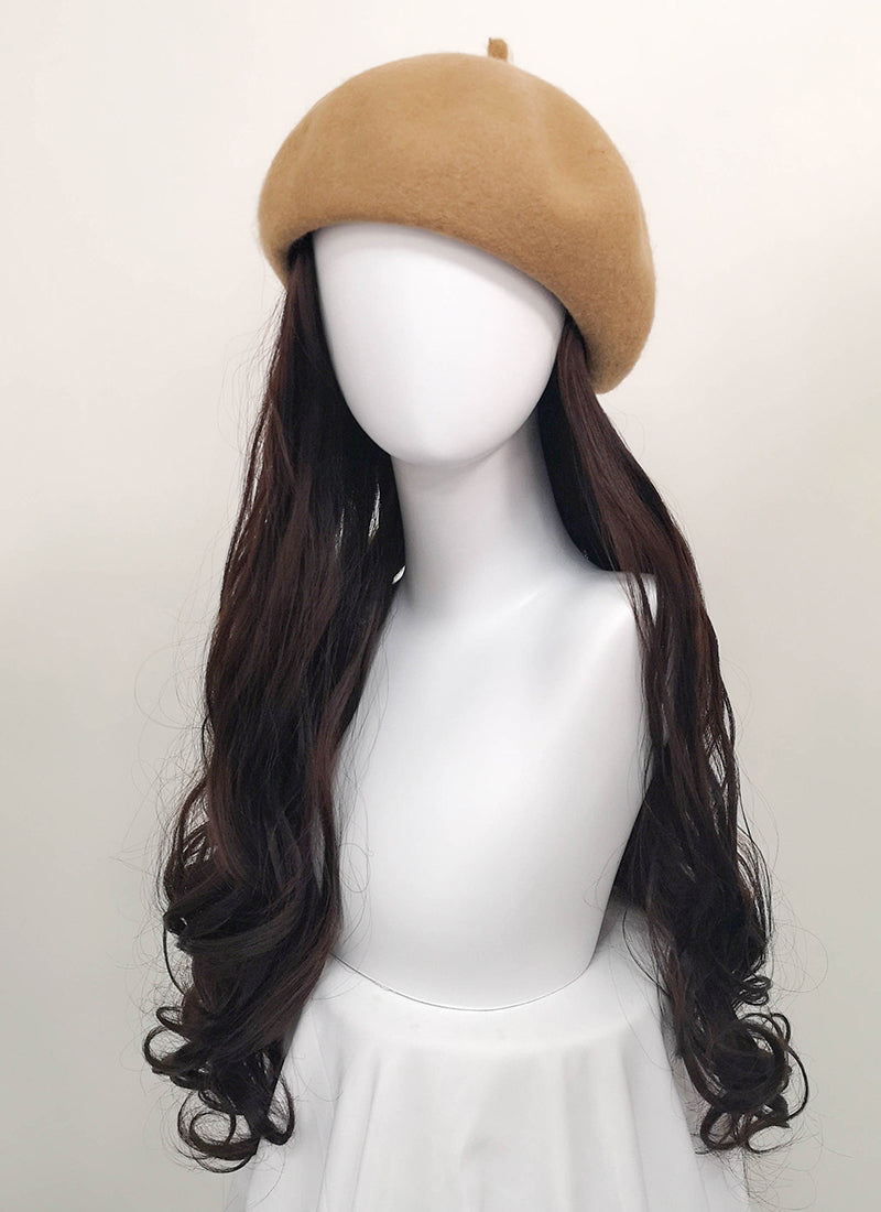 Camel Beret With Wavy Brunette Hair Attached CW003