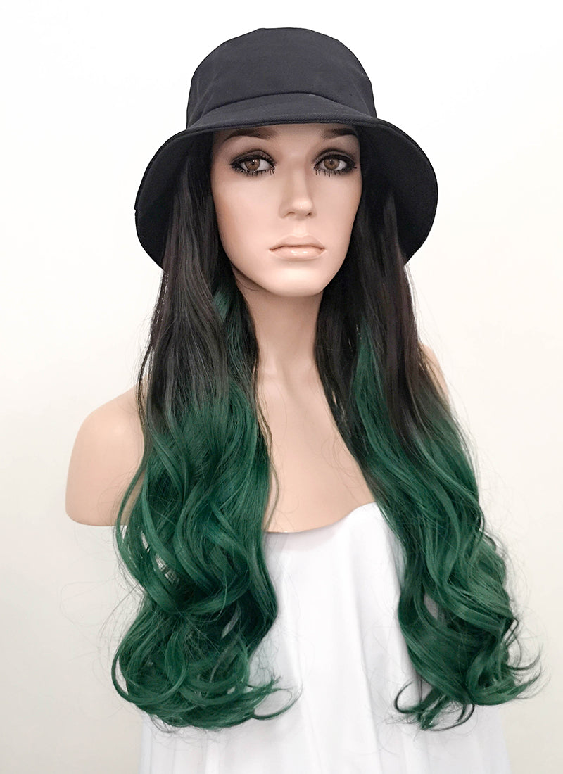 Black Bucket Hat With Wavy Black Green Ombre Hair Attached CW005 - Wig Is Fashion