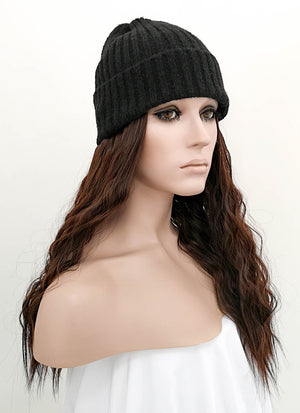 Black Beanie With Wavy Dark Brown Hair Attached CW006 - Wig Is Fashion