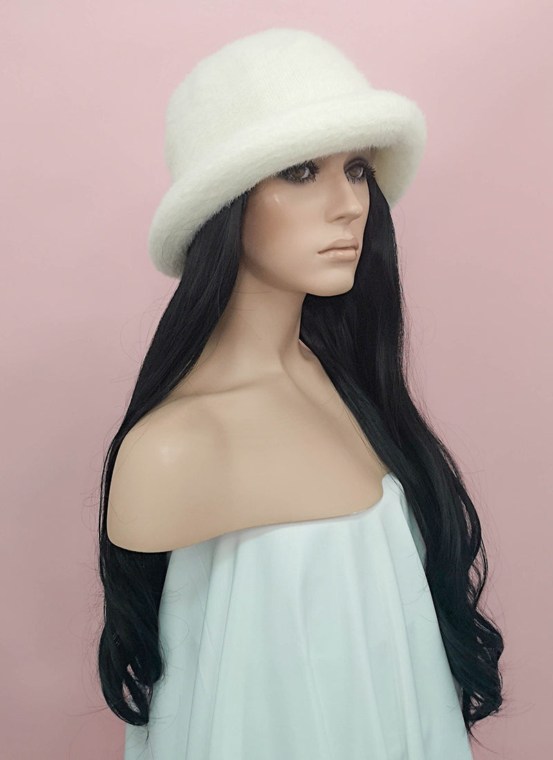 White Bucket Hat With Wavy Black Hair Attached CW009 - Wig Is Fashion