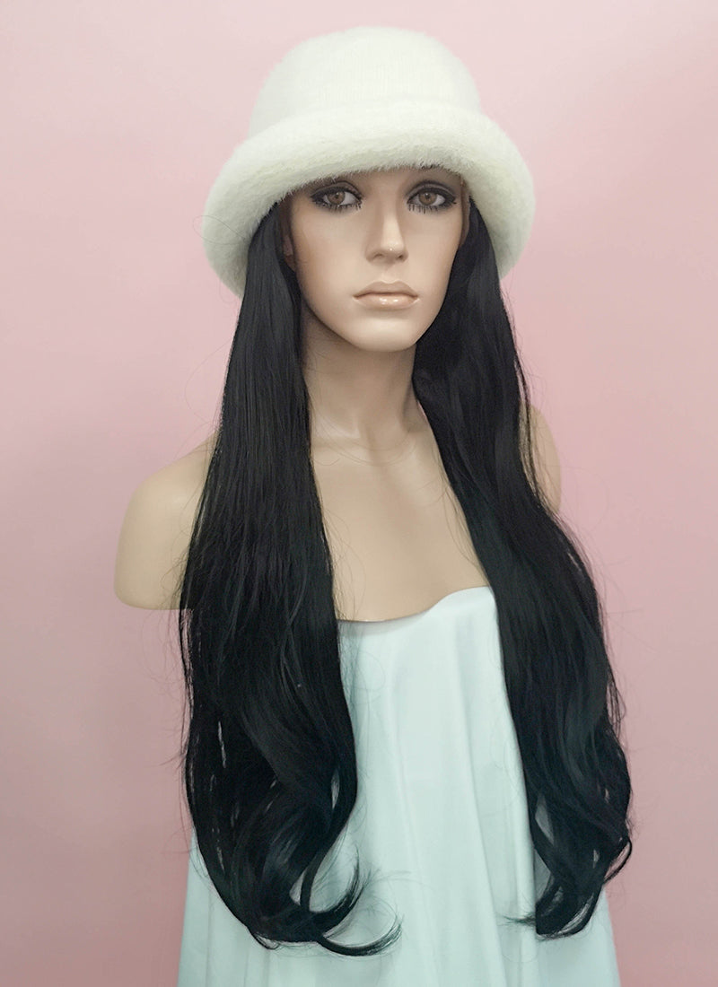 White Bucket Hat With Wavy Black Hair Attached CW009