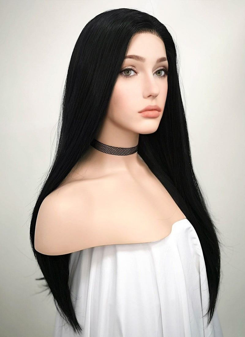 Straight Jet Black Lace Front Synthetic Wig LF002 - Wig Is Fashion