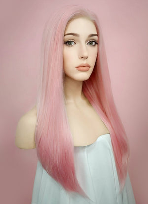 Straight Pastel Pink Lace Front Synthetic Wig LF026 - Wig Is Fashion