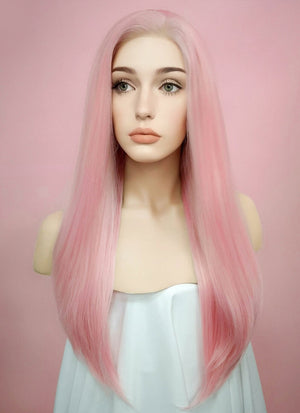 Straight Pastel Pink Lace Front Synthetic Wig LF026