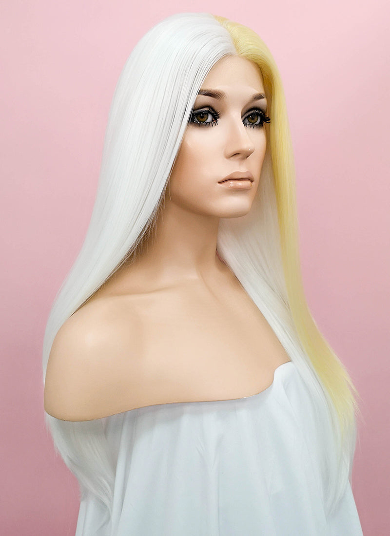 Straight White Mixed Light Blonde Lace Front Synthetic Wig LF1246 - Wig Is Fashion