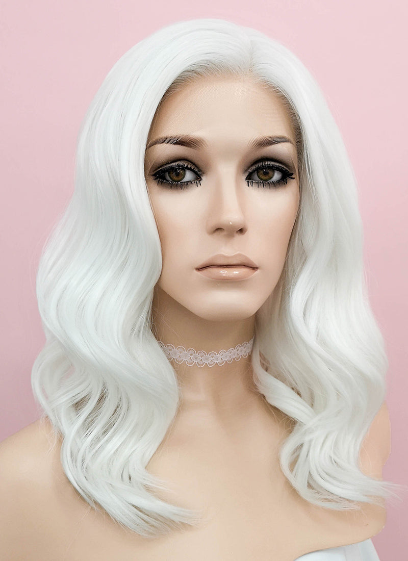 White Wavy Lace Front Synthetic Wig LF1258 - Wig Is Fashion