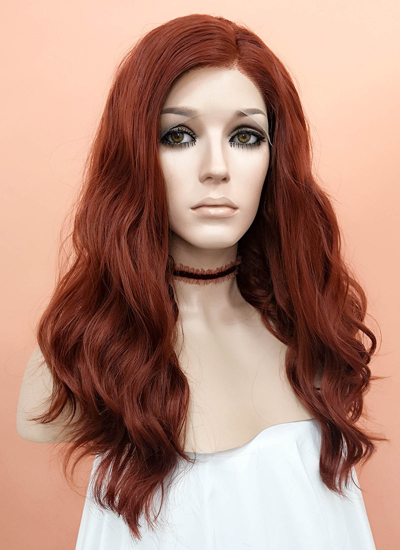 Reddish Brown Wavy Lace Front Synthetic Wig LF1267 - Wig Is Fashion