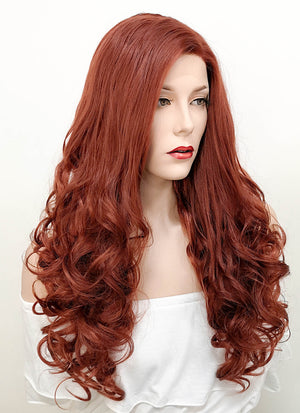 Auburn Wavy  Lace Front Synthetic Wig LF132 - Wig Is Fashion