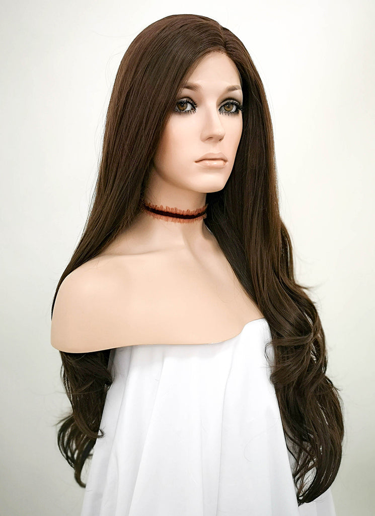 "26"" Brunette Wavy Lace Front Synthetic Wig LF146 - Wig Is Fashion"