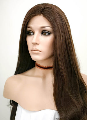 Brunette Wavy Lace Front Synthetic Wig LF146 - Wig Is Fashion