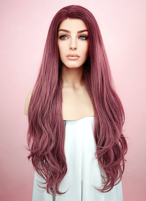 Wavy Two Tone Pinkish Red Lace Front Synthetic Wig LF1525 - Wig Is Fashion