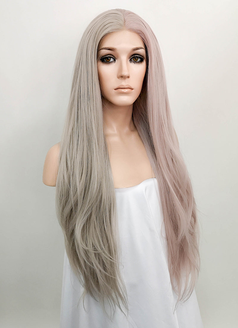 Pastel Pale Plum Grey Split Color Straight Lace Front Synthetic Wig LF1531D - Wig Is Fashion