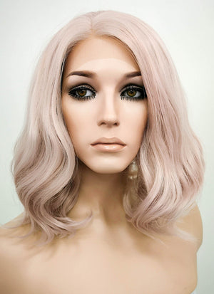 Pinkish Grey Wavy Bob Lace Front Synthetic Wig LF1537C - Wig Is Fashion
