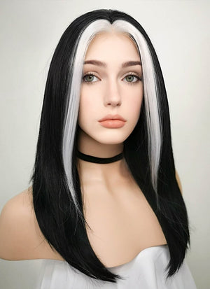 Black Mixed White Star Wars Ysanne Isard Straight Lace Front Synthetic Wig LF1605 - Wig Is Fashion
