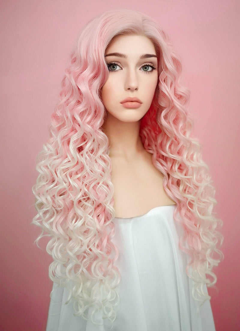 Spiral Curly Pastel Pink Blonde Ombre  Lace Front Synthetic Wig LF165
