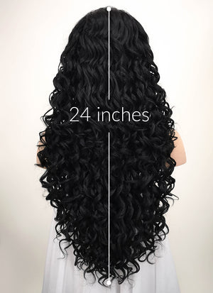 Spiral Curly Black Lace Front Synthetic Wig LF166 - Wig Is Fashion