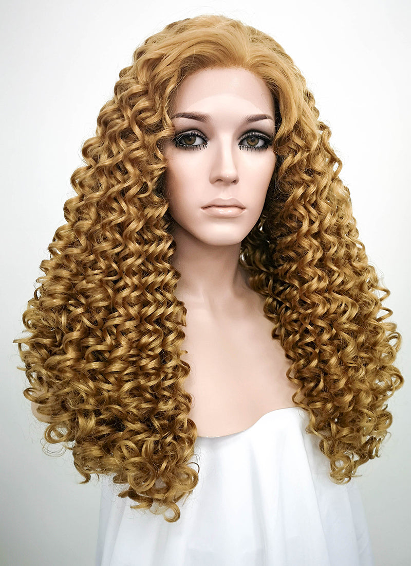 Golden Blonde Curly Lace Front Synthetic Wig LF1701 - Wig Is Fashion