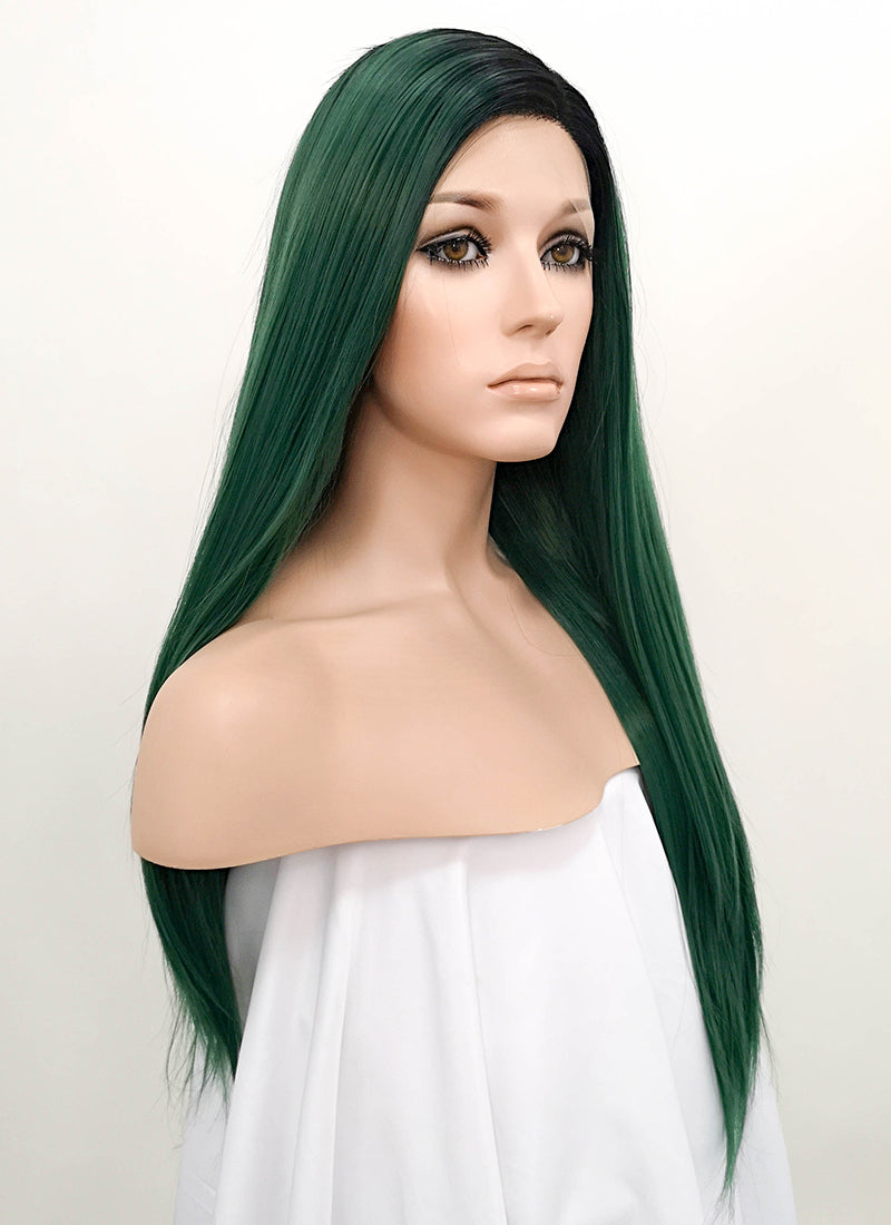 Green With Dark Roots Straight Lace Front Synthetic Wig LF1704 - Wig Is Fashion