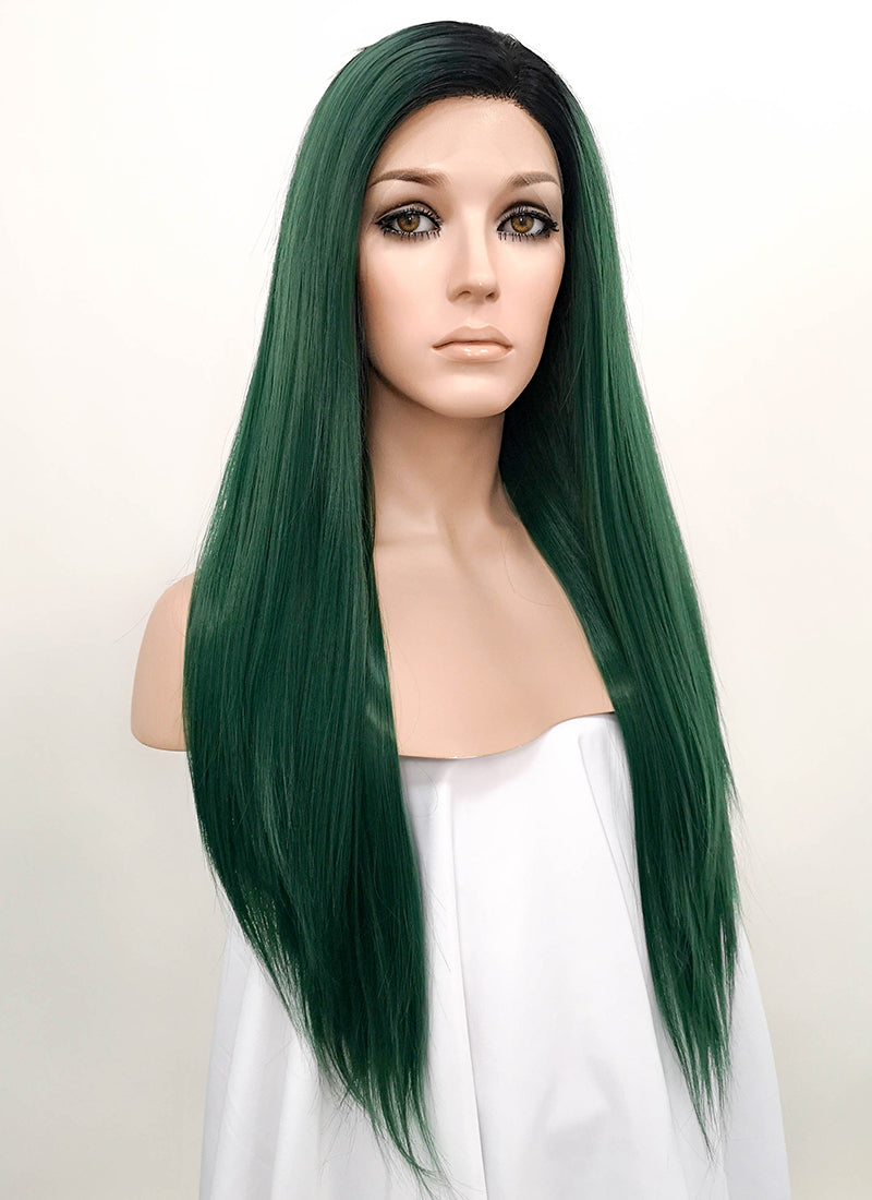 Green With Dark Roots Straight Lace Front Synthetic Wig LF1704