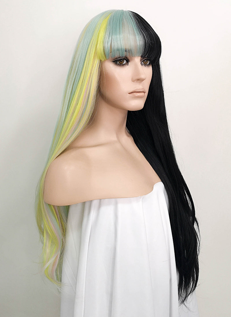 Multi-Color Black Split Color Straight Lace Front Synthetic Wig LF1719 - Wig Is Fashion