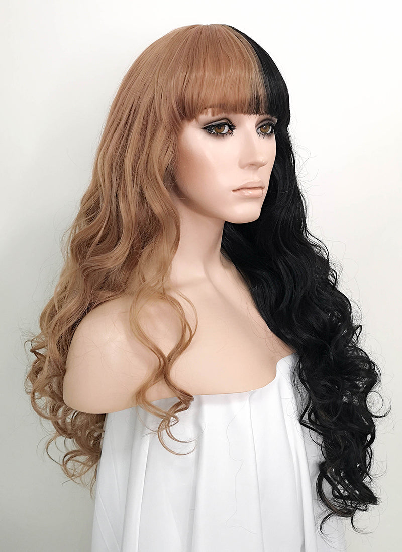 Pastel Peach Pink Black Split Color Wavy Lace Front Synthetic Wig LF1721 - Wig Is Fashion