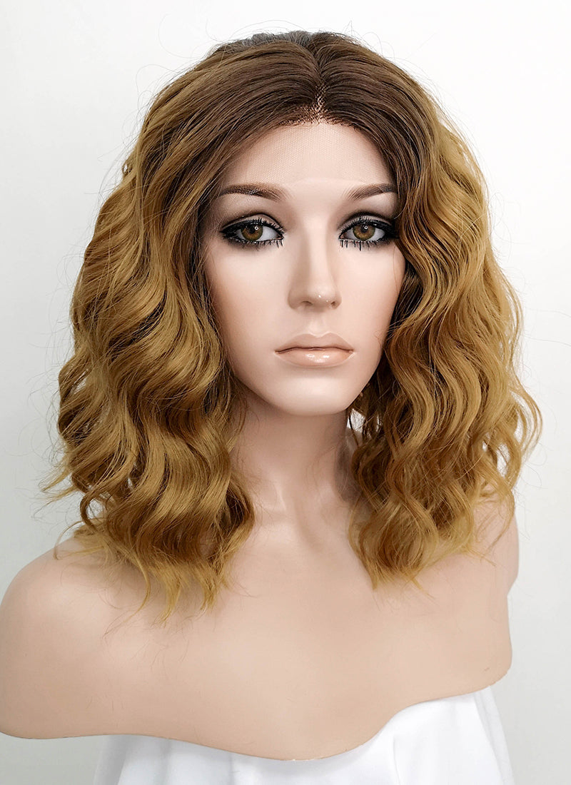 Blonde With Brown Roots Wavy Bob Lace Front Synthetic Wig LF1725 - Wig Is Fashion