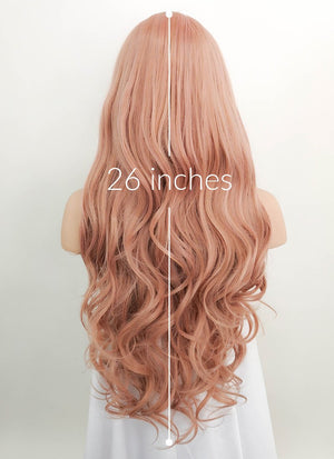 Pastel Peach Pink Wavy Lace Front Synthetic Wig LF1726 - Wig Is Fashion