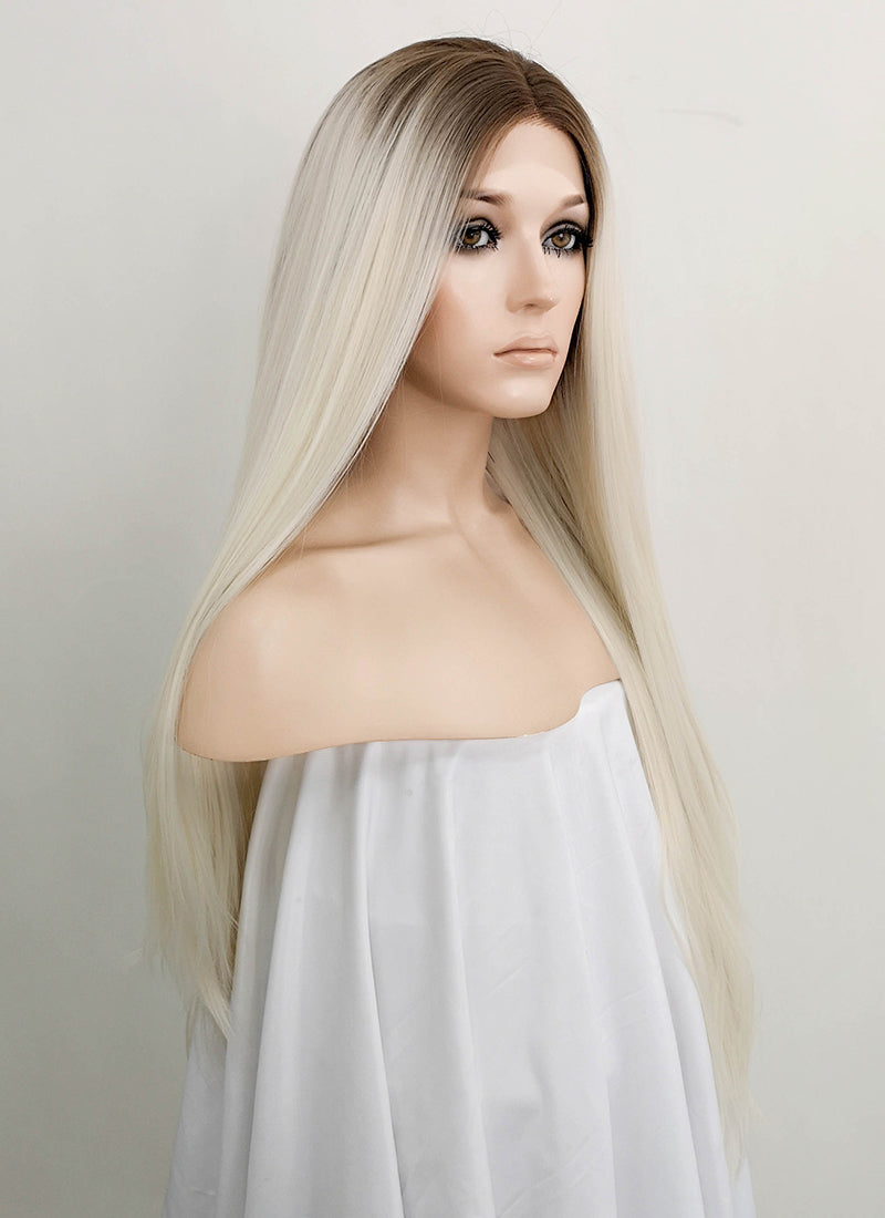 Light Blonde With Brown Roots Straight Lace Front Synthetic Wig LF1727 - Wig Is Fashion