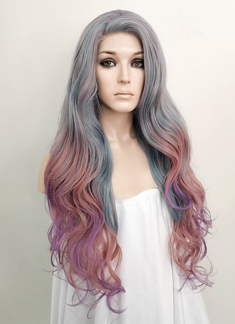 Grey Pink Purple Mixed Wavy Lace Front Synthetic Wig LF1732 - Wig Is Fashion